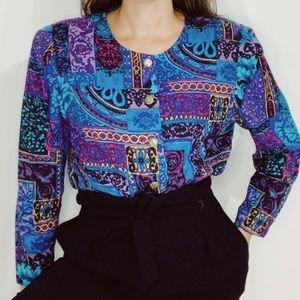 Vintage Paisley Patchwork 80's Button Up Blouse